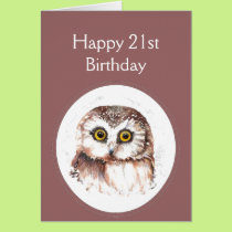 21st Birthday Who Loves You, Cute Owl Humour Card