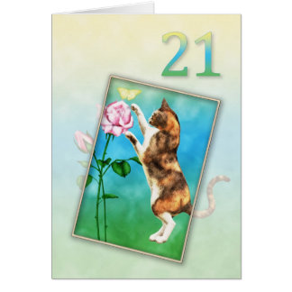 21st Birthday with a playful cat Card