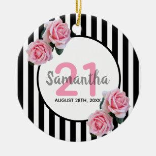 21st Birthday With Pink Roses Black White Stripes Ceramic Ornament