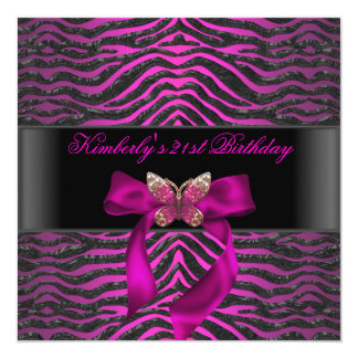 21st Birthday Zebra Black Silver Pink Butterfly Card