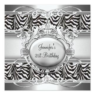"""21st Birthday Zebra Black White Silver Plaque 5.25"""" Square Invitation Card"""