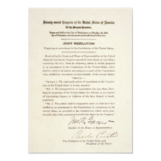 21st Constitutional Amendment Ending Prohibition 5x7 Paper Invitation Card