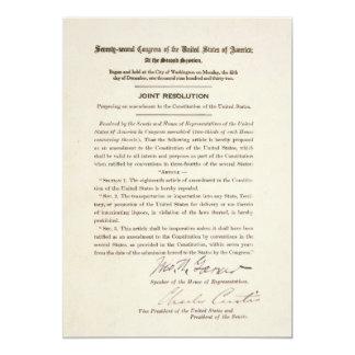 21st Constitutional Amendment Ending Prohibition Card