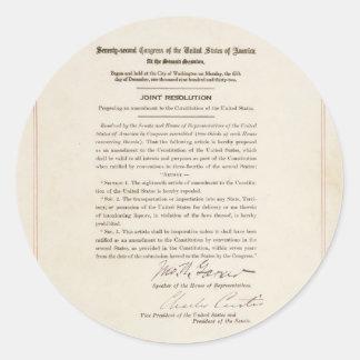 21st Constitutional Amendment Ending Prohibition Classic Round Sticker