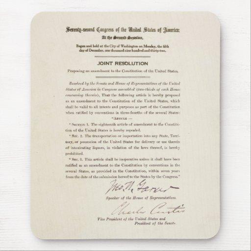 21st Constitutional Amendment Ending Prohibition Mouse Pad