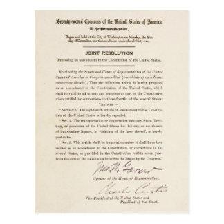 21st Constitutional Amendment Ending Prohibition Postcard