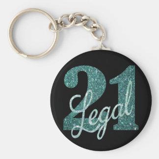 21st Green | 21 & Legal Black Teal Seafoam Glitter Keychain