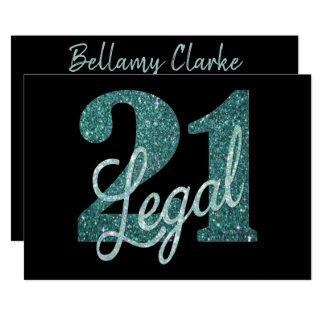 21st Green   Custom 21 & Legal Teal Glitter Black Card