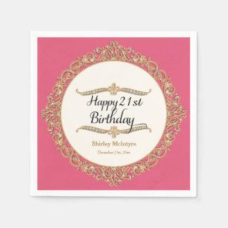 21st Happy Birthday Party Celebration Round Decor Napkin