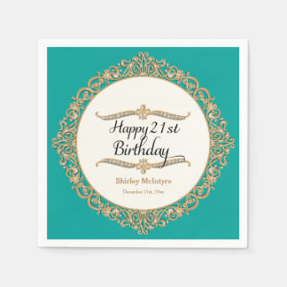 21st Happy Birthday Party Celebration Round Decor Paper Napkin