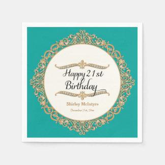 21st Happy Birthday Party Celebration Round Decor Paper Napkin