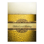 21st Mans Beer Black Gold Birthday Party 4.5x6.25 Paper Invitation Card