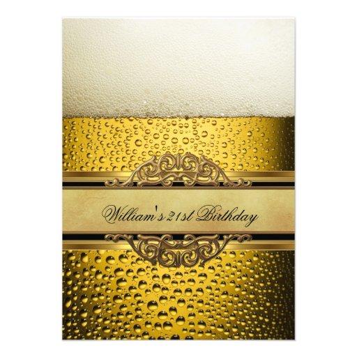 21st Mans Beer Black Gold Birthday Party Invites