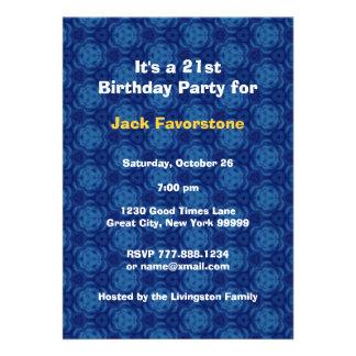 21st Modern Birthday Party Blue and Gold W1797J Custom Invitation