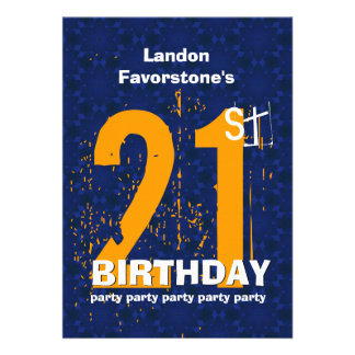21st Modern Birthday Party Blue and Gold W1797K Invitation