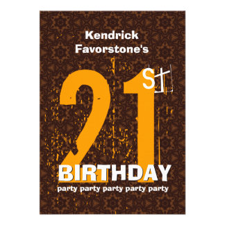 21st Modern Birthday Party Brown and Gold W1797T Custom Invitation
