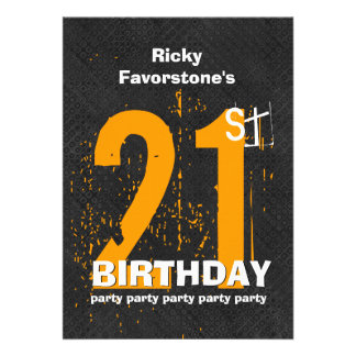 21st Modern Birthday Party Gold and Black W1797E Personalized Announcement