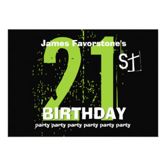 21st Modern Birthday Party Green and Black W1797 Personalized Invitations