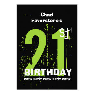 21st Modern Birthday Party Green and Black W1797A Personalized Announcements