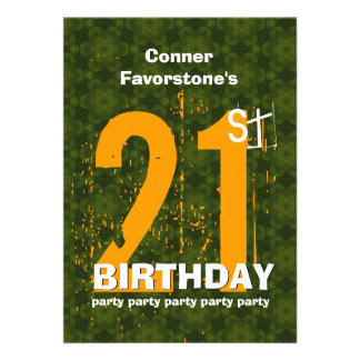 21st Modern Birthday Party Green and Gold W1797G Custom Invites