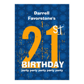 21st Modern Birthday Party Orange and Gold W1797Q Announcement