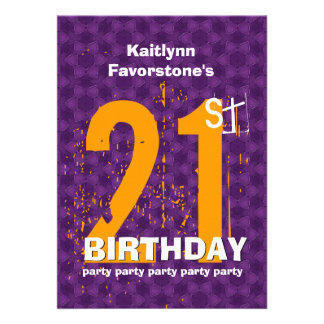 21st Modern Birthday Party Purple and Gold W1797X Announcement
