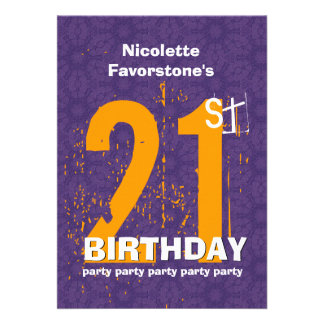 21st Modern Birthday Party Purple and Gold W1797Z Personalized Invitations