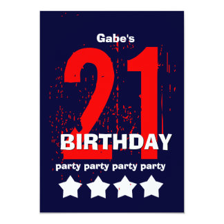 21st Modern Birthday Party Red White Blue W1797D1 Card