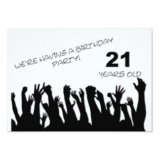 21st party invitation with cheering crowds