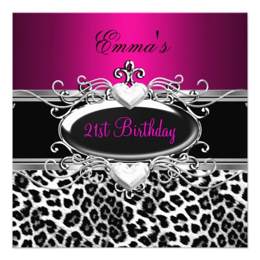 21st Party Silver Pink Black White Leopard Invitations