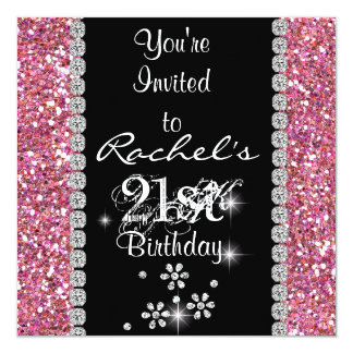 21st PINK  Birthday Party Invitation BLING