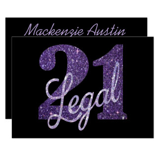 21st Purple   21 Legal Glitter Black Party Theme Card