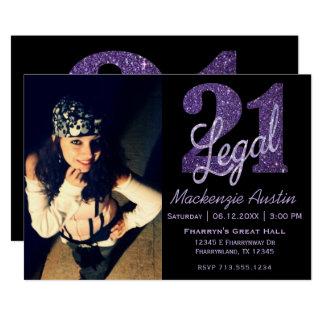 21st Purple   Custom Photo 21 Legal Lilac Glitter Card