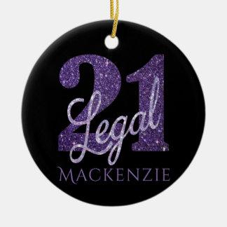 21st Purple | Name 21 Legal Glitter Black Birthday Ceramic Ornament
