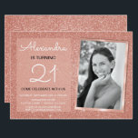"21st Sparkle Rose Gold Blush Pink Photo Invitation<br><div class=""desc"">21st Girl's Birthday Party Elegant Faux Sparkle and Glitter Rose Gold or Blush Pink Birthday Invitations are perfect for a Rose Gold or Blush Pink Birthday Party. These Photo or Picture Invitations are perfect for a woman turning Twenty First Birthday Party. You can update the invitation card to include your...</div>"