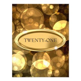 21st Special Event Elegant Black & Gold Bubbles Custom Invitations
