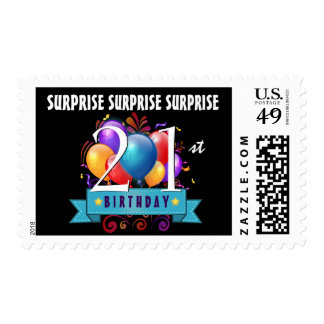 21st SURPRISE Birthday Balloons Black White B21Z Postage