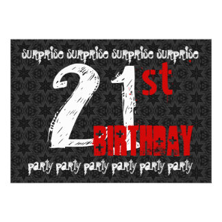 21st SURPRISE Birthday Black White Red Skull W1740 Personalized Invitation