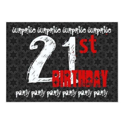 21st SURPRISE Birthday Black White Red Skull W1740 5x7 Paper Invitation Card