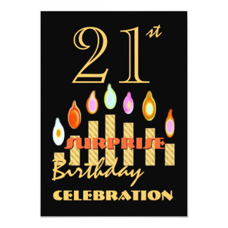 21st SURPRISE Birthday Party Gold Candles Invite