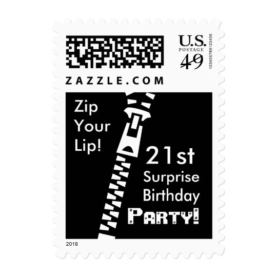 21st SURPRISE Birthday Party - Zip Your Lip! Postage