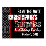 21st Surprise Save the Date Modern Black White Red Post Card