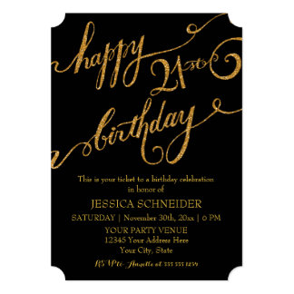 21st, Twenty First Birthday Party Celebration 5x7 Paper Invitation Card