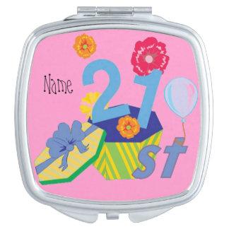 21st twentyone today , personalized birthday makeup mirror