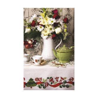 2203 Teatime Floral Still Life Christmas Canvas Print