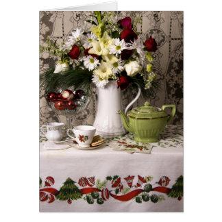 2203 Teatime Floral Still Life Christmas Card