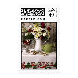 2203 Teatime Floral Still Life Christmas Postage
