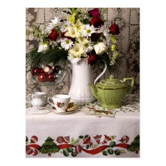 2203 Teatime Floral Still Life Christmas Postcard