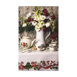 2209 Teatime Floral Still Life Christmas Canvas Print