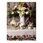 2209 Teatime Floral Still Life Christmas Post Cards
